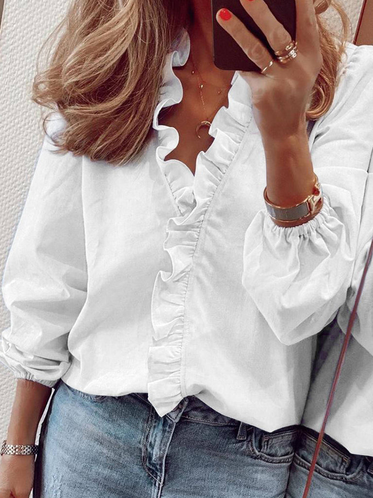 Women Polyester Solid Ruffled Long Balloon Sleeve Blouses