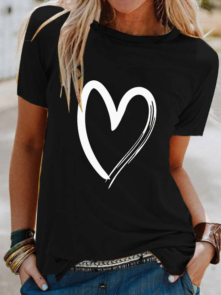 Women Love Print Short Sleeve Round Neck T-shirt