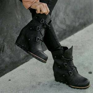 Women Winter Fashion Wedge Heel Lace-up Boots
