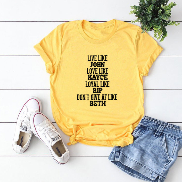 Live Like John Letters Printed Casual Short Sleeve T-shirts