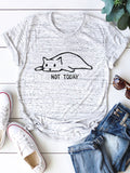 Women Cat Print Casual Short Sleeve Crew Neck T-shirts