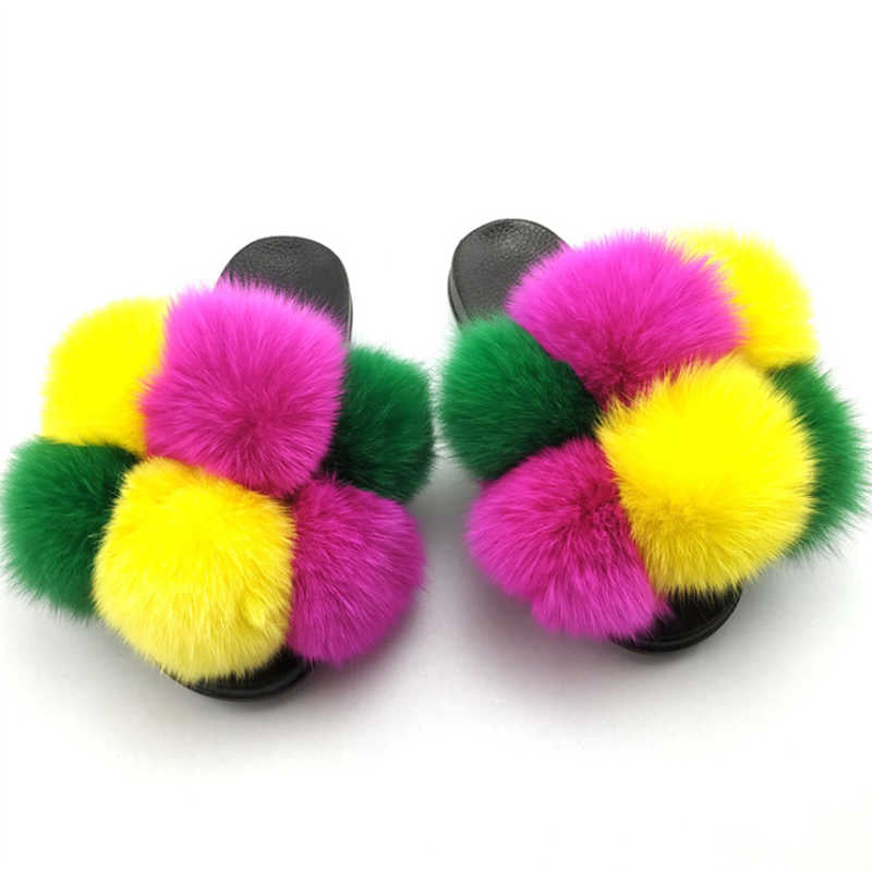 Women Cute Plus Size Hit Colors Furry Ball Open Toe Slip On Slippers