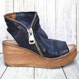 Women Comfy Side Zipper Wedge Sandals