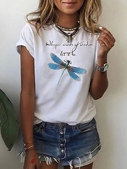 Women Printed Short Sleeve Crew Neck  T-shirts