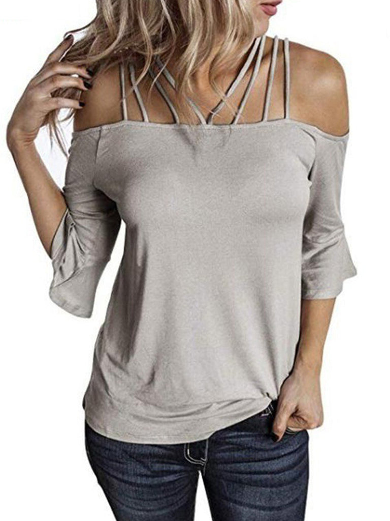 Women Solid Off shoulder 3/4 Sleeve T-shirts