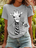Women Casual Giraffe Printed Short Sleeved T-shirts