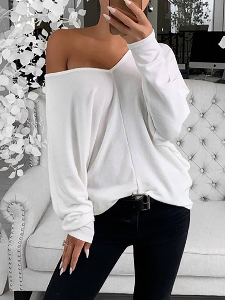 Women Polyester V Neck Solid Long Sleeve Casual T-Shirts