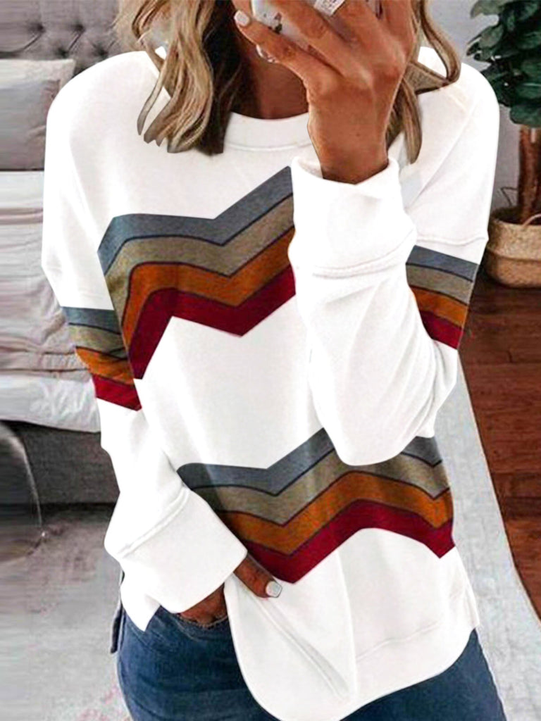 Women Printed Paneled Casual Long sleeve Sweatshirt