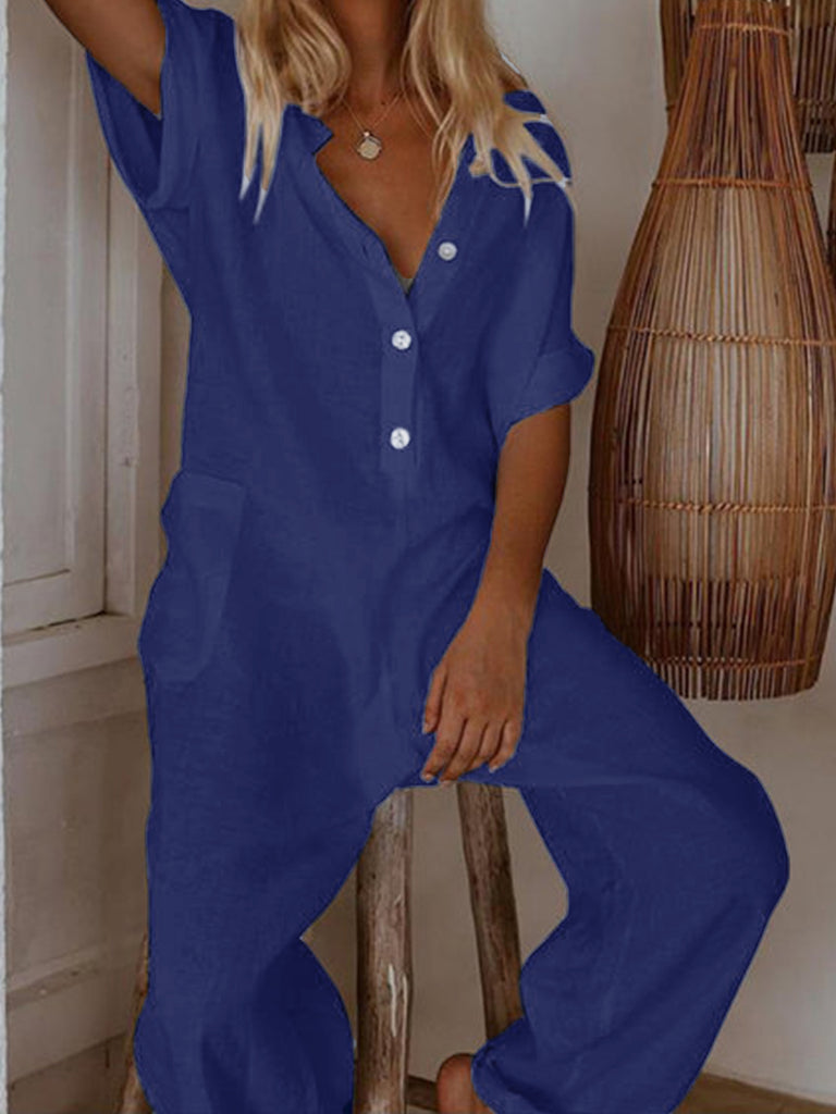 Women Solid Buttoned Short Sleeve Jumpsuit