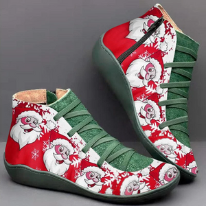 Women's Comfortable Christmas Shoes Zipper Flats Boots