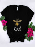 Women Crew Neck Bee Print Short SleeveT-shirts