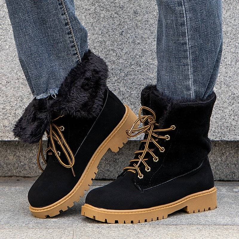 Women Cozy Fabric High Top Lace Up Martin Boots With Fluff