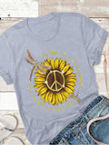 Sunflower Print Short-Sleeved Casual T-shirts