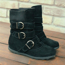 Load image into Gallery viewer, Women Casual Flat Heel Knitted Fabric Zipper Boots