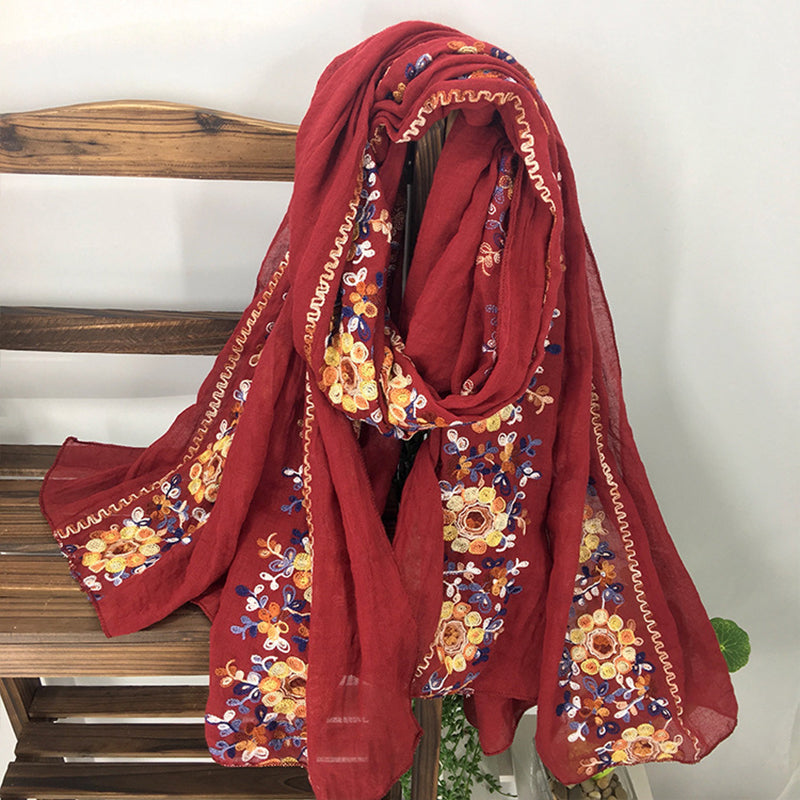 Women Ethnic Style Literary Embroidery Cotton and Linen Scarf