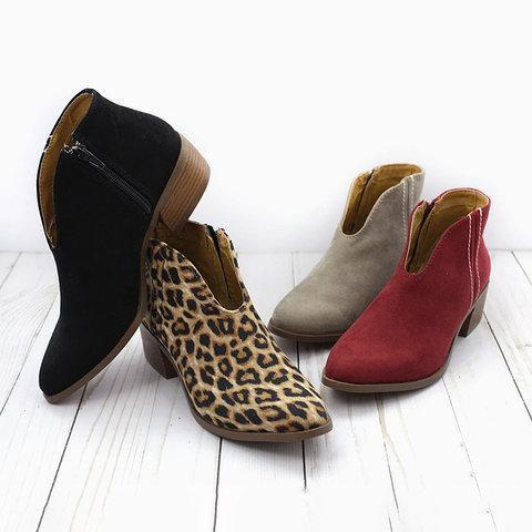 Deep V Sexy Booties Casual Comfort Plus Size Zipper Shoes-shoeri