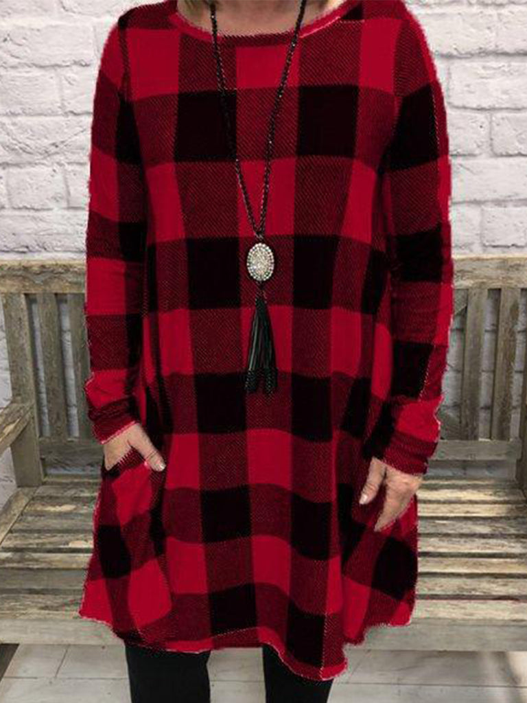 Plaid Print Pullover Casual Crew Neck Women Sweatshirts with Pockets