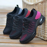 Women Casual Flyknit Fabric Hit Colors Lace Up Platform Sneakers