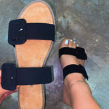 Women Fashionable Comfortable Pu Square Buckle Sandals Slippers