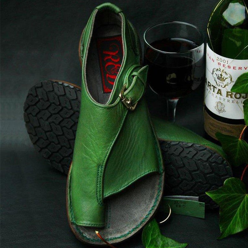 Women Casual Pu Toe Loop Adjusting Buckle Flat Sandals