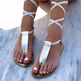 Women Web celebrity Pu Lace-up Flat Heel Sandals