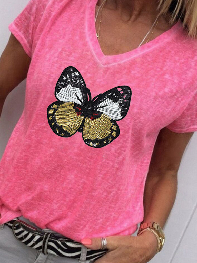 Butterfly Printed V-Neck Casual Short Sleeve T-shirts