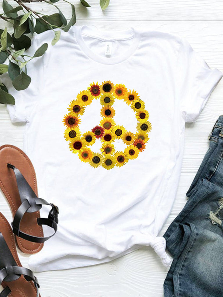 Floral Printed Short Sleeve Casual T-shirts for Women