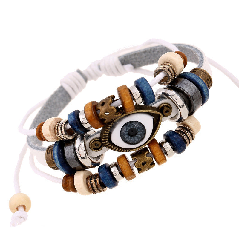 Eyes Adjustable Leather Hippie Bracelets