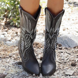 Women Simple Embroidery Slip On Cowboy Chunky Heel Wide Calf High Boots