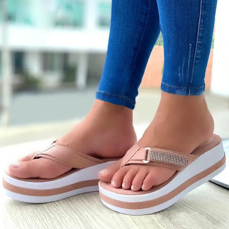 Women Casual Simple Pu Rhinestone Flip-flop Wedge Heel Sandals