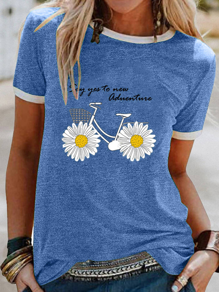 Women Small Daisy Print Casual Short Sleeve T-shirts