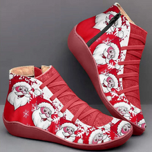 Load image into Gallery viewer, Women's Comfortable Christmas Shoes Zipper Flats Boots