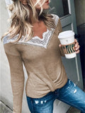 Women Solid Lace V Neck Long Sleeve Sweaters