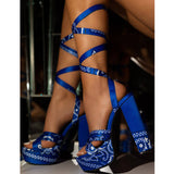 Women Ribbon Tie Pattern Open Toe Lace-up High Heel Sandals