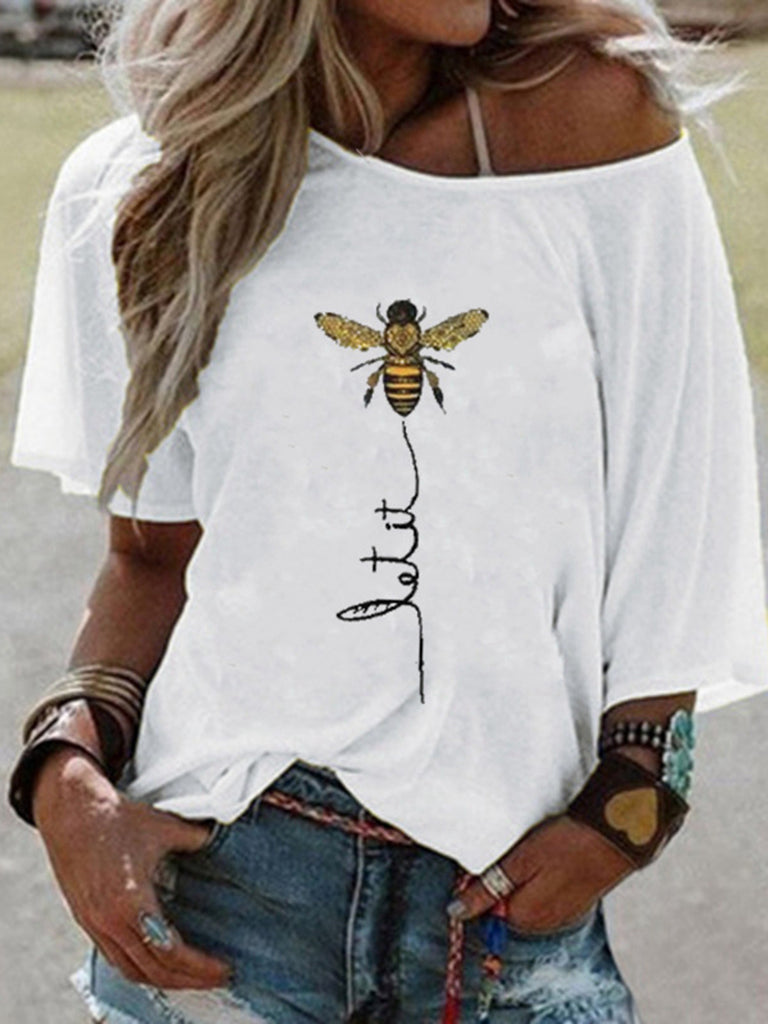Bee Printed Crew neck Summer T-shirts