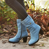 Women Chic Denim Special Pocket Zipper Chunky Heel Mid-calf Boots