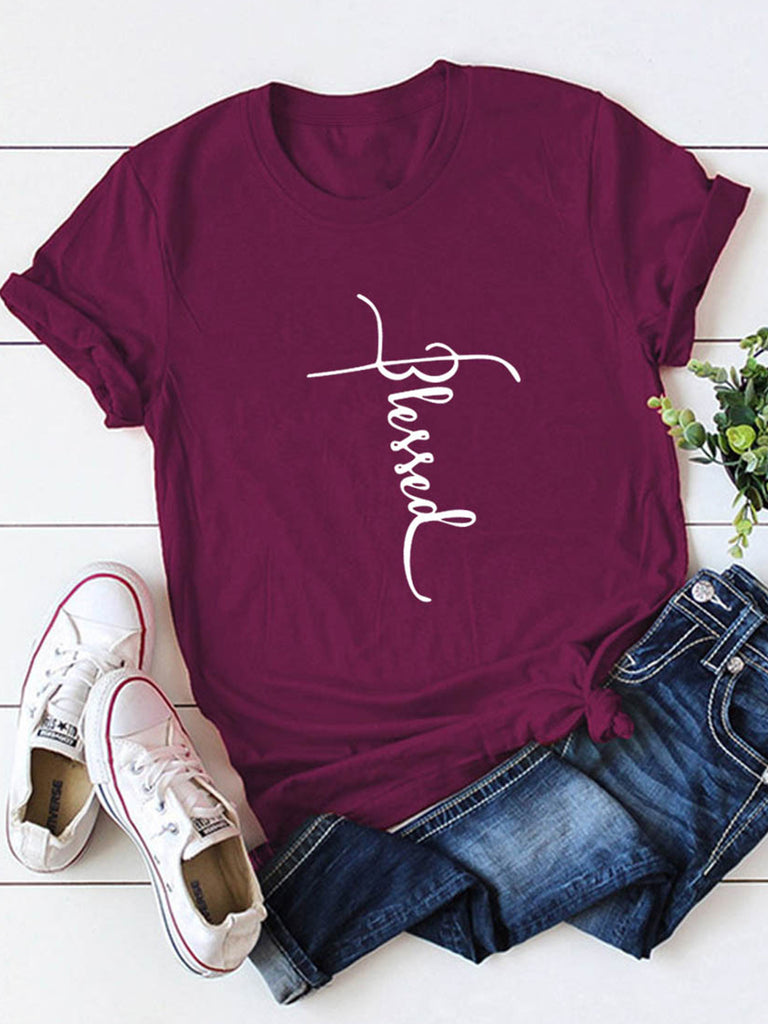 Women Blessed Letters Print Short Sleeve Crew Neck T-shirts