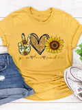 Women Sunflower Print Short Sleeve Crew Neck T-shirts