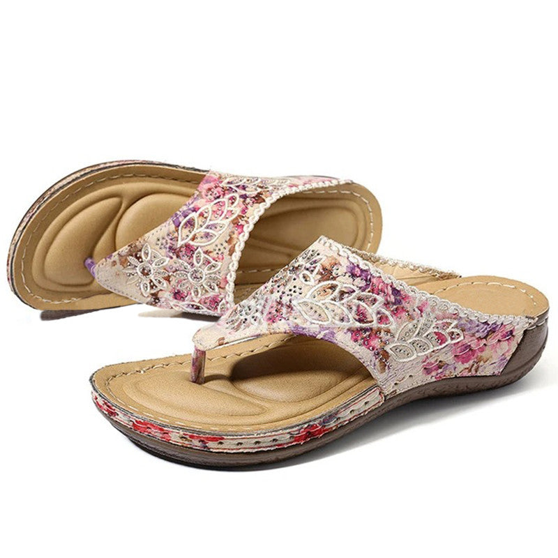 Women Casual Comfy Pu Rhinestone Floral Embroidery Floral Embroidery Flat Sandals