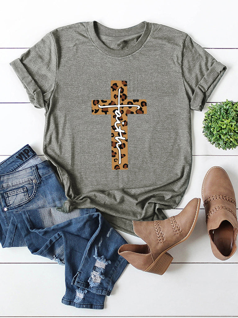 Leopard Print Short Sleeve Women's Crew Neck Casual T-shirts