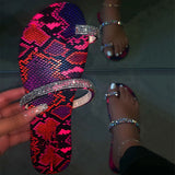 Women Seaside Large Size Rhinestone Thongs Slippers