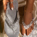 Women Rhinestone Bling Thongs Slip On Slippers