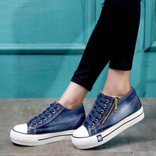 Load image into Gallery viewer, Women Daily Casual Denim Zipper Sneakers Flat Heel Shoes
