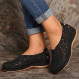 Women Casual Comfotable Pu Pure Color Hollow-out Slip On Loafers