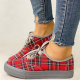 Women Casual Fashion Canvas Plaid Lace-up Sneakers