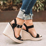 Women Simple Elegant Microfiber Fabric Adjusting Buckle Wedge Heel Sandals