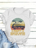 Marty Whater Happens Letter Car Print Women Short Sleeve Round Neck T-Shirts