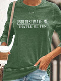 Women Letter Print Crew Neck Casual Long Sleeve T-Shirts