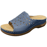 Women Casual Daily Comfortable Pu Hollow-out Flower Flat Sandals