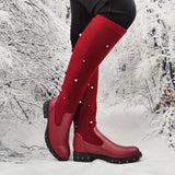Women's Winter Comfortable Knit Sweater Low-heeled Mid-boots